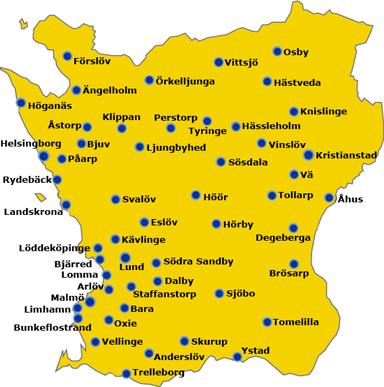 Bjarred Karta Skane.Skene Karta